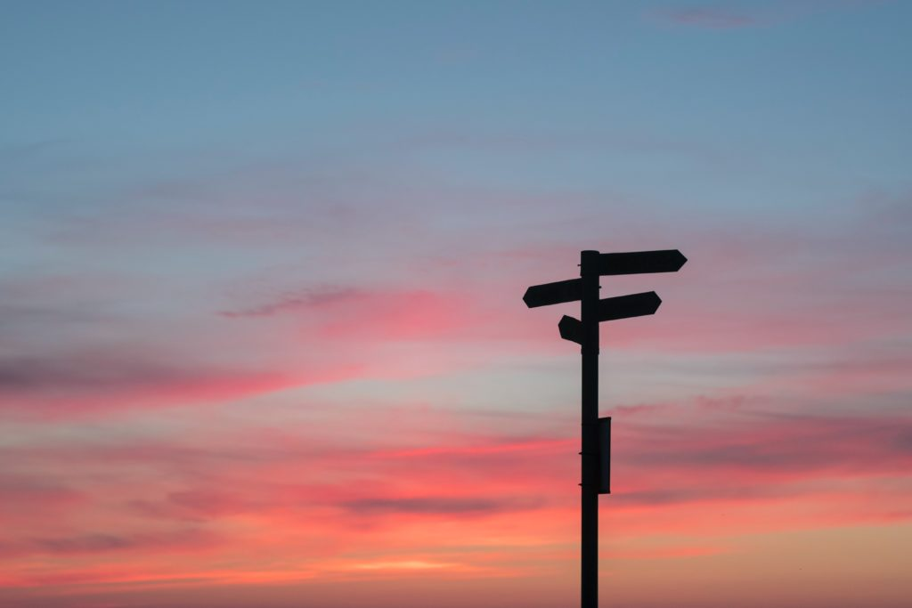 Sign post with a sunset backdrop
