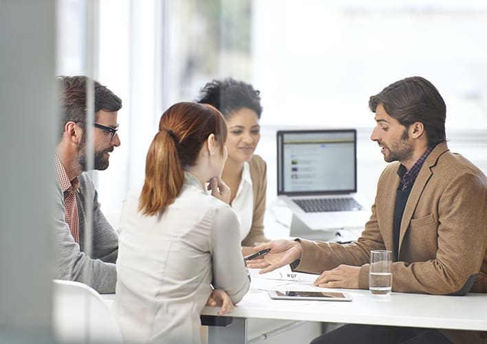Workers in a meeting in office