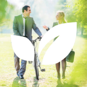 Man walking with a bike talking with a woman