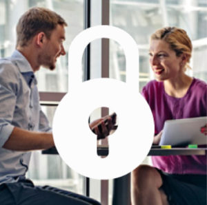 Man and woman talking in office with padlock icon overlay