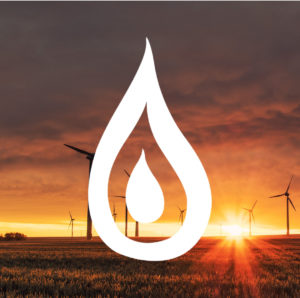 Windfarm at sunset with flame icon overlay