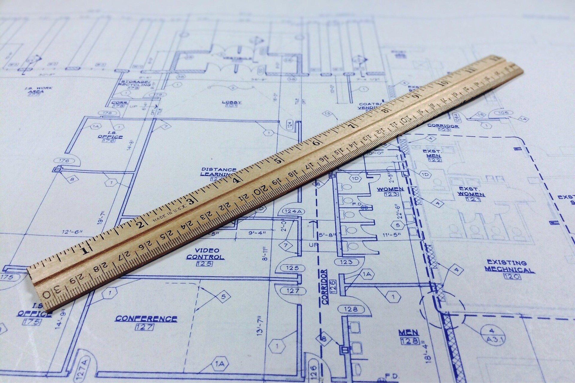 Ruler on a blueprint