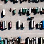 Overhead view of lorries in carpark
