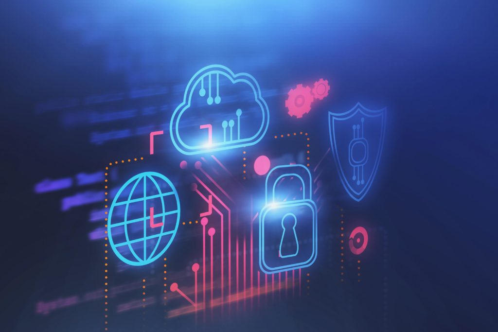 Computer graphic showing a lock, cloud, shield and world icon