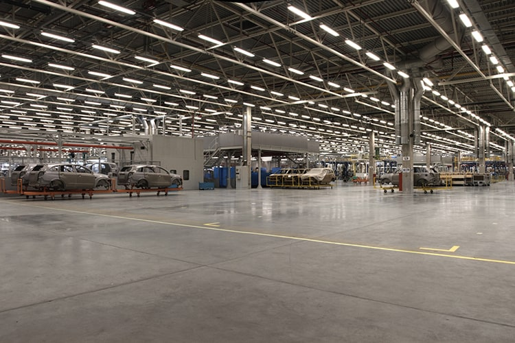 Panoramic photo of a large car factory
