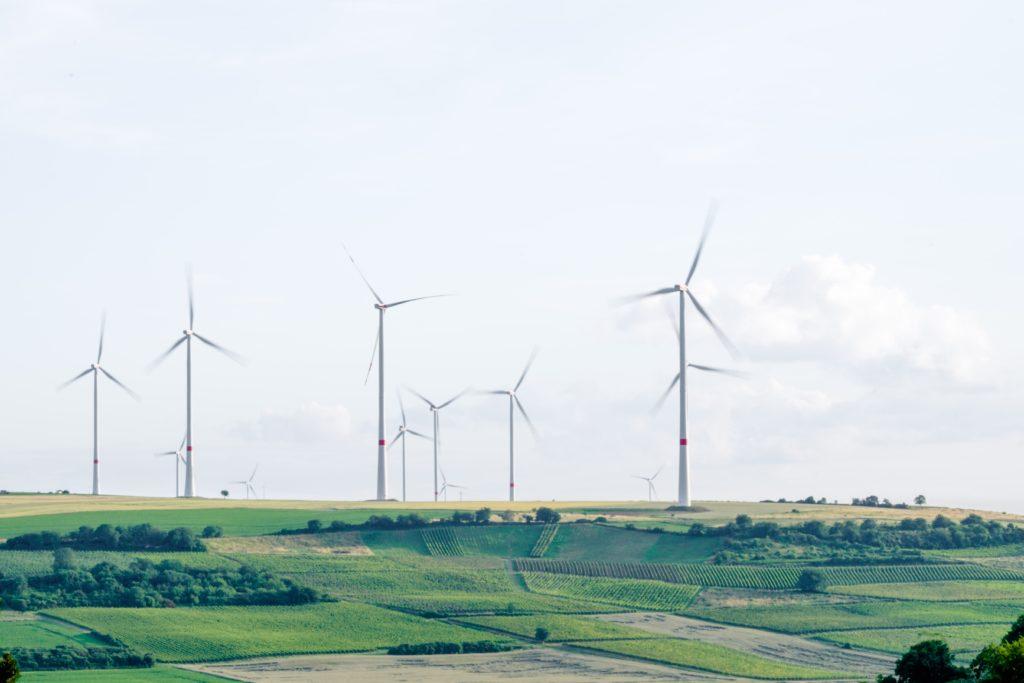Windfarm in green fields
