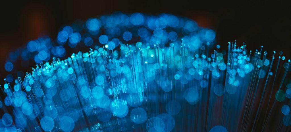 Blue ends of fibre optic cables