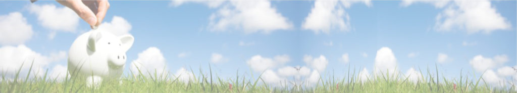 hand putting a coin into a white piggy bank on grass with blue sky and clouds