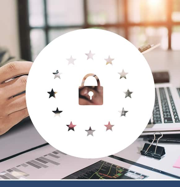 White padlock inside a circle of stars icon overlaying a photo of a person working at a desk