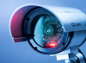 Close up photo of a security camera